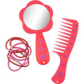Red Comb, Mirror & Hair Ties Set 8pc