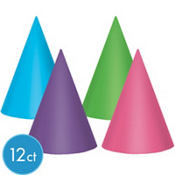 Metallic Purple & Teal Pastel Party Hats 12ct