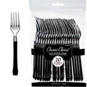 Classic Silver & Black Premium Plastic Forks 20ct