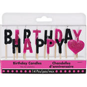 Glitter Black & Pink Happy Birthday Toothpick Candles 14ct
