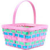 Large Pink Wood Easter Basket