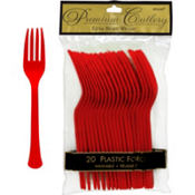 Red Premium Plastic Forks 20ct