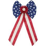 Patriotic Burlap Bow - Rustic Americana