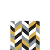 Black, Gold & Silver Herringbone Beverage Napkins 16ct
