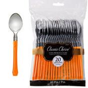 Classic Silver & Orange Premium Plastic Spoons 20ct