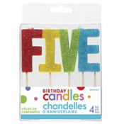 Glitter Multicolor Five Birthday Toothpick Candles 4ct