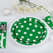 Festive Green Polka Dot & Chevron Tableware