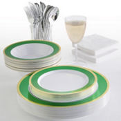 Gold & Festive Green Border Premium Tableware