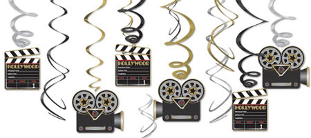 quick shop clapboard hollywood swirl decorations 12ct cardstock plastic decorations - Hollywood Party Decorations