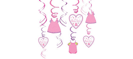It 39 s a girl baby shower decorations party city for Baby clothesline decoration baby shower