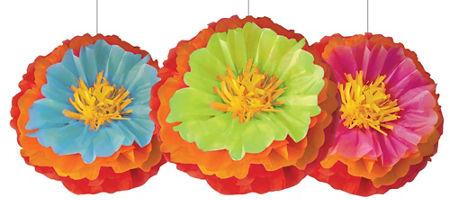 quick shop fiesta flower fluffy decorations 3ct - Fiesta Decorations