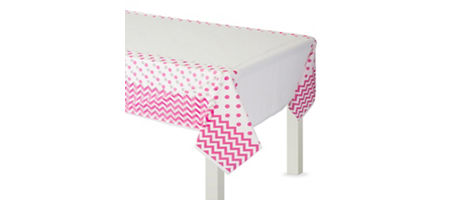 Bright Pink Polka Dot Amp Chevron Tableware Party City