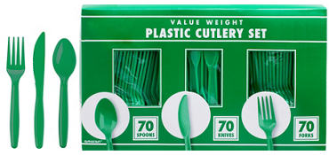 Festive Green Plastic Cutlery Set 210ct