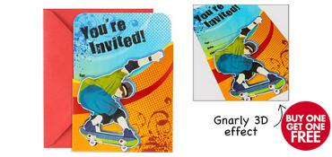 Premium Sliding Born to Skate Invitations 8ct
