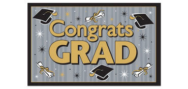 Black & Gold Vinyl Graduation Party Sign 78in