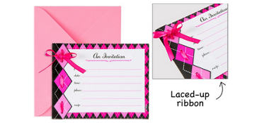 Premium Pink Argyle Invitations 8ct