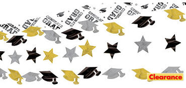 Black, Gold and Silver Graduation Ceiling Decoration 10ft