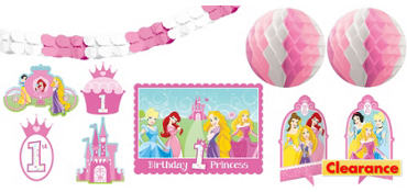 1st Birthday Disney Princess Room Decorating Kit 10pc
