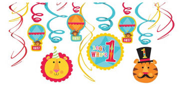 Fisher-Price 1st Birthday Circus Swirl Decorations 12ct