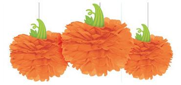 Pumpkin Fluffy Decorations 3ct