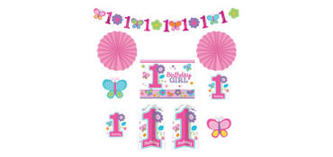 Sweet Girl 1st Birthday Room Decorating Kit 10pc
