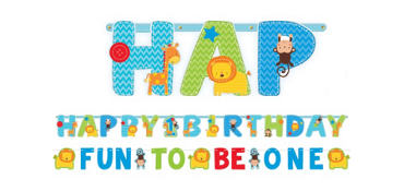 Wild at One Boy's 1st Birthday Banners 2ct