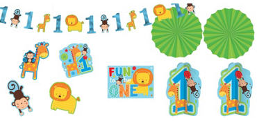 Wild at One Boy's 1st Birthday Room Decorating Kit 10pc