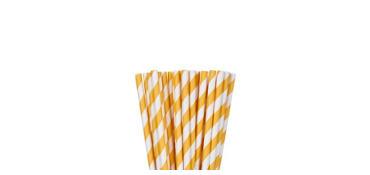 Sunshine Yellow Striped Paper Straws 24ct