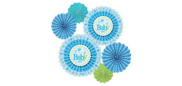 Boy Welcome Baby Paper Fan Decorations 6ct - Welcome Little One