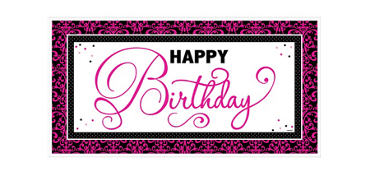 Giant Black & Pink Birthday Banner