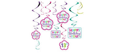 Purple & Teal Pastel Birthday Swirl Decorations Kit