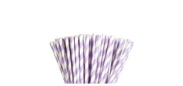 Lavender Striped Paper Straws 80ct