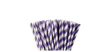 Purple Striped Paper Straws 80ct
