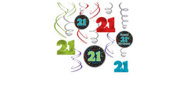Brilliant 21st Birthday Swirl Decorations 12ct