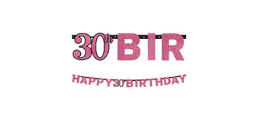 Prismatic 30th Birthday Banner - Pink Sparkling Celebration