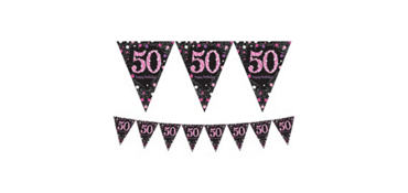 Prismatic 50th Birthday Pennant Banner - Pink Sparkling Celebration