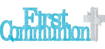 Glitter Blue First Communion Centerpiece