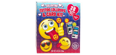 Smiley Exchange Cards with Tattoo Lollipops 28ct