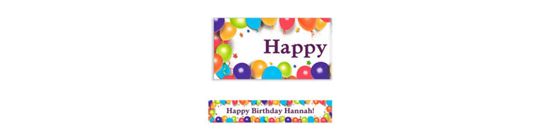 Custom Balloon & Stars Birthday Banner 6ft