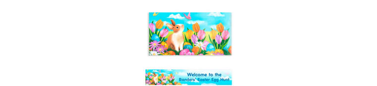 Custom Garden Bunny Easter Banner 6ft