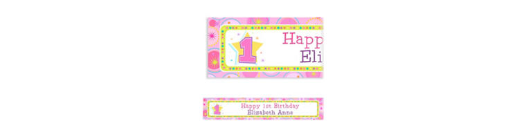 Custom One-Derful Girl 1st Birthday Banner 6ft