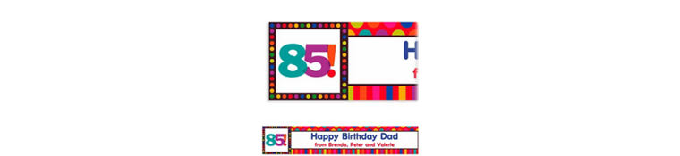 Birthday Dots & Stripes 85 Custom Banner 6ft