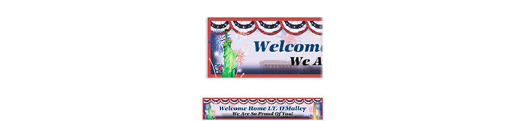 Custom Flying Colors Welcome Home Banner 6ft
