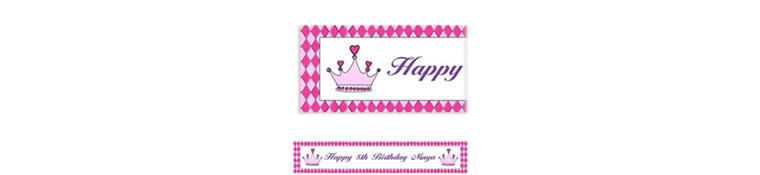 Birthday Princess Crown Custom Banner 6ft