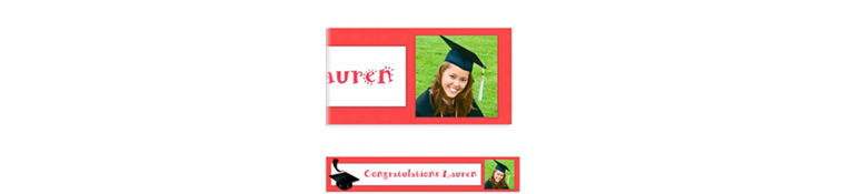 Custom Red Congrats Grad Photo Banner 6ft