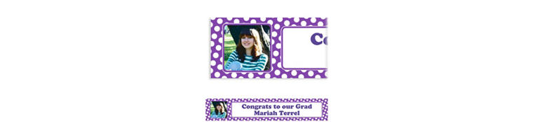 Custom Purple Polka Dot Photo Banner 6ft