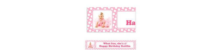 Custom Pink Polka Dot Photo Banner 6ft