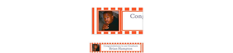 Custom Orange Stripe Photo Banner 6ft