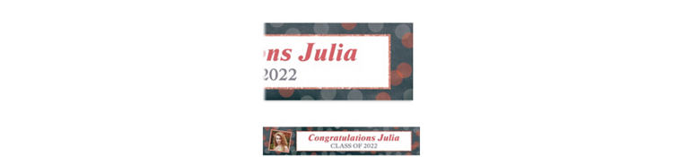 Custom Glitter Salmon Frames and Dots Graduation Photo Banner