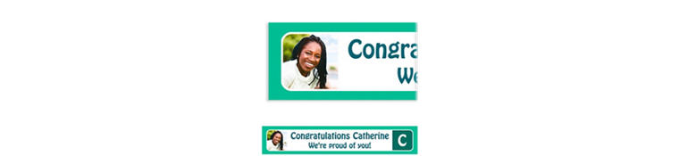 Custom Mint Color Block Initial Graduation Photo Banner